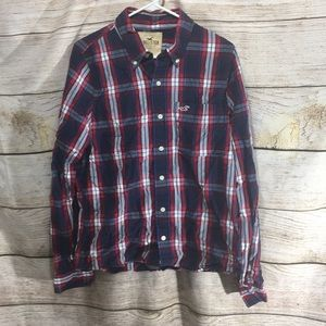 Hollister XL classic plaid button up blue red